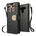 LG V50 ThinQ Sparkle Diamond Wallet Case With Butterfly Design Black