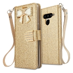 LG V50 ThinQ Sparkle Diamond Wallet Case With Butterfly Design Gold
