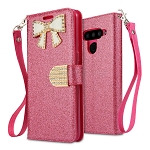 LG V50 ThinQ Sparkle Diamond Wallet Case With Butterfly Design Pink