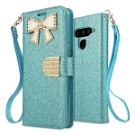 LG V50 ThinQ Sparkle Diamond Wallet Case With Butterfly Design Blue