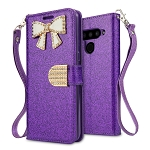 LG V50 ThinQ Sparkle Diamond Wallet Case With Butterfly Design Purple