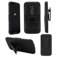 Motorola Moto G Stylus New 3 in 1 Hybrid Magnetic Kickstand Case With Belt Clip Black/Black