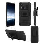 Samsung Galaxy A30 New 3 in 1 Hybrid Magnetic Kickstand Case With Belt Clip Black