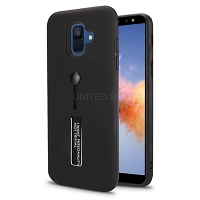 Samsung Galaxy A6 2018 New Hybrid Finger Grip Case With Kickstand Black