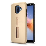 Samsung Galaxy A6 2018 New Hybrid Finger Grip Case With Kickstand Gold