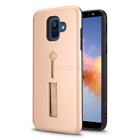 Samsung Galaxy A6 2018 New Hybrid Finger Grip Case With Kickstand Rose Gold