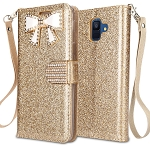 Samsung Galaxy A6 2018 Sparkle Wallet Case With Diamond Butterfly Design Gold