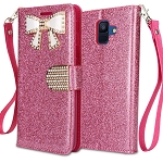 Samsung Galaxy A6 2018 Sparkle Wallet Case With Diamond Butterfly Design Pink