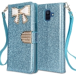 Samsung Galaxy A6 2018 Sparkle Wallet Case With Diamond Butterfly Design Blue