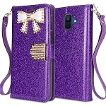 Samsung Galaxy A6 2018 Sparkle Wallet Case With Diamond Butterfly Design Purple