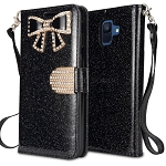 Samsung Galaxy A6 2018 Sparkle Wallet Case With Diamond Butterfly Design Black
