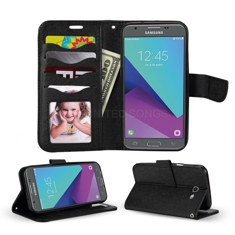 online store edf76 0f56c Samsung Galaxy J3 Prime/J3 Emerge/J3 2017 J327 Wallet Case Black