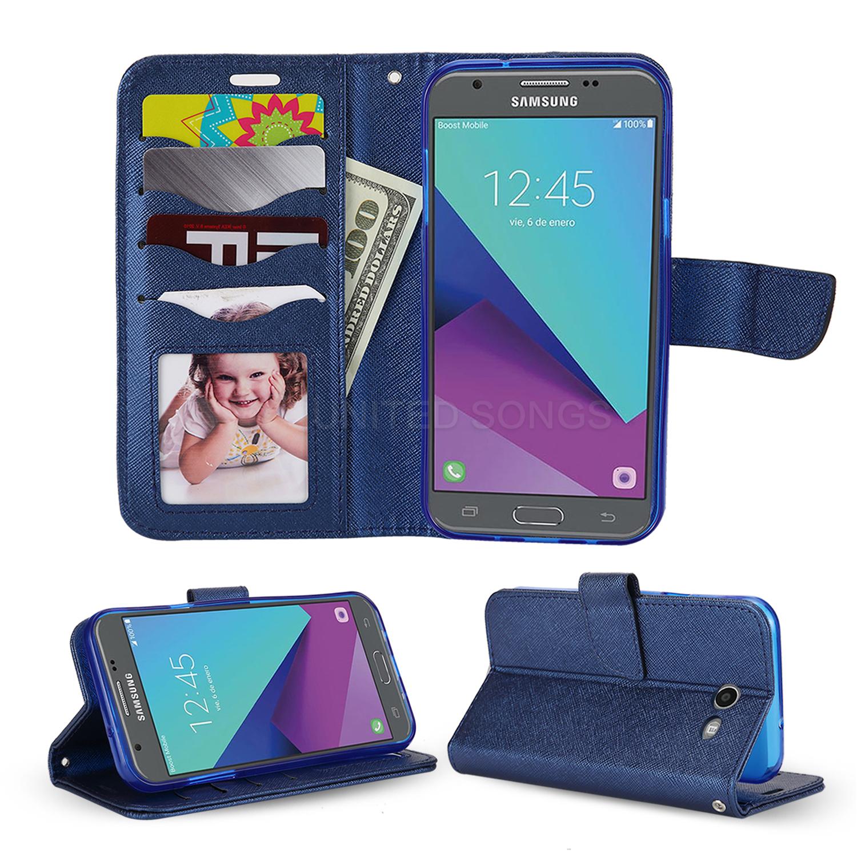 Samsung Galaxy J3 Prime/J3 Emerge/J3 2017 J327 Wallet Case Blue
