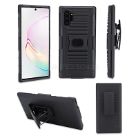 Samsung Galaxy Note 10 Plus New 3 in 1 Hybrid Magnetic Kickstand Case With Belt Clip Black/Black