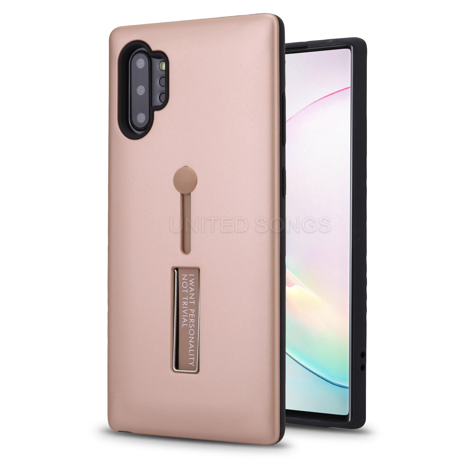 Samsung Galaxy Note 10 Plus New Hybrid Finger Grip Case With Kickstand Gold