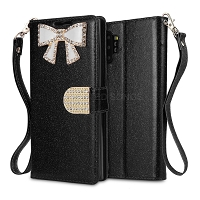 Samsung Galaxy Note 10 Plus Sparkle Wallet Case With Diamond Butterfly Design Black