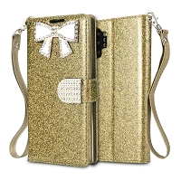 Samsung Galaxy Note 10 Plus Sparkle Wallet Case With Diamond Butterfly Design Gold
