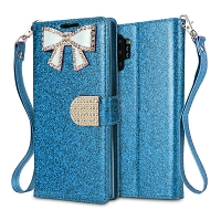 Samsung Galaxy Note 10 Plus Sparkle Wallet Case With Diamond Butterfly Design Blue