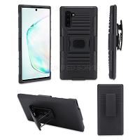 Samsung Galaxy Note 10 New 3 in 1 Hybrid Magnetic Kickstand Case With Belt Clip Black/Black