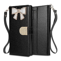 Samsung Galaxy Note 10 Sparkle Wallet Case With Diamond Butterfly Design Black