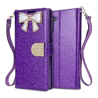 Samsung Galaxy Note 10 Sparkle Wallet Case With Diamond Butterfly Design Purple