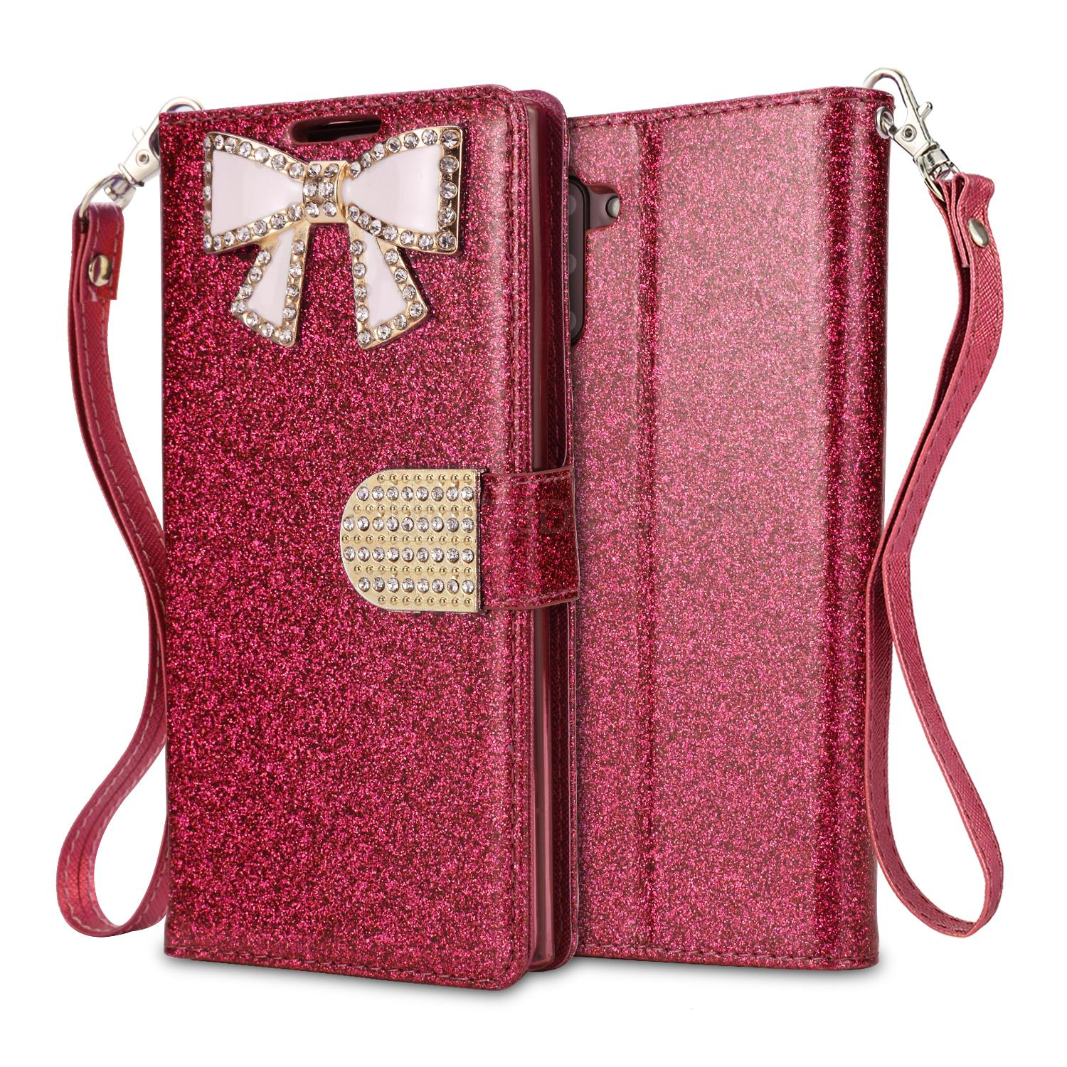 Samsung Galaxy Note 10 Sparkle Wallet Case With Diamond Butterfly Design Pink