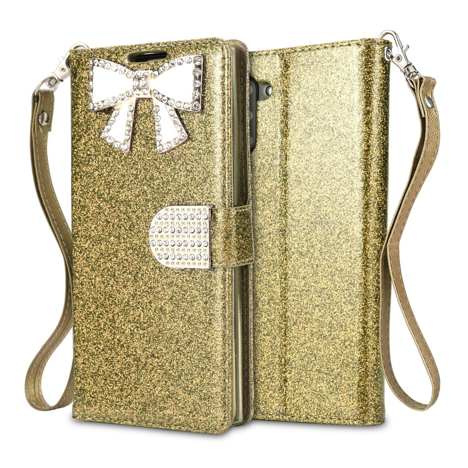 Samsung Galaxy Note 10 Sparkle Wallet Case With Diamond Butterfly Design Gold