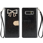 Samsung Galaxy Note 8 New Sparkle Diamond Wallet Case With Butterfly Design Black