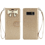 Samsung Galaxy Note 8 New Sparkle Diamond Wallet Case With Butterfly Design Gold