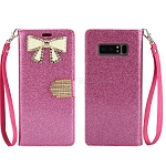 Samsung Galaxy Note 8 New Sparkle Diamond Wallet Case With Butterfly Design Pink