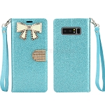 Samsung Galaxy Note 8 New Sparkle Diamond Wallet Case With Butterfly Design Blue