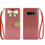 Samsung Galaxy Note 8 New Sparkle Diamond Wallet Case With Butterfly Design Light Pink