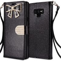 Samsung Galaxy Note 9 Sparkle Wallet Case With Diamond Butterfly Design Black