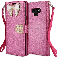 Samsung Galaxy Note 9 Sparkle Wallet Case With Diamond Butterfly Design Pink