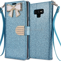 Samsung Galaxy Note 9 Sparkle Wallet Case With Diamond Butterfly Design Blue