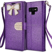 Samsung Galaxy Note 9 Sparkle Wallet Case With Diamond Butterfly Design Purple