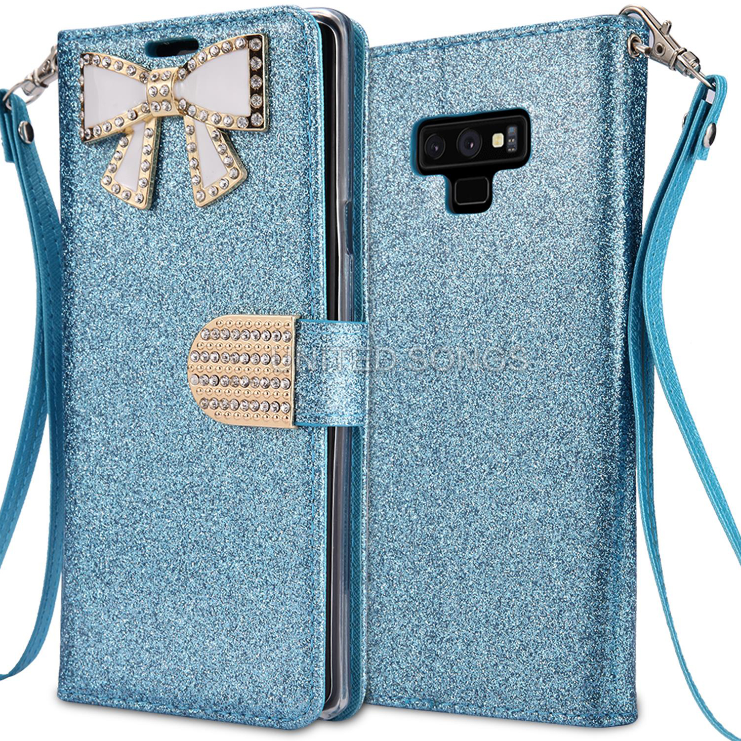 Samsung Galaxy Note 10 Sparkle Wallet Case With Diamond Butterfly Design Blue