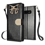 Samsung Galaxy S10 Plus Sparkle Wallet Case With Diamond Butterfly Design Black