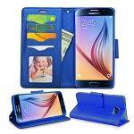 Samsung Galaxy S6 Wallet Case Blue