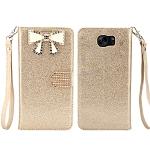 Sasmung Galaxy S6 Edge Sparkle Diamond Wallet Case With Butterfly Design Gold