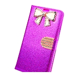 iPhone 8/7/6 Sparkle Diamond Wallet Case With Butterfly Design Purple