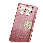 iPhone 8/7/6 Sparkle Diamond Wallet Case With Butterfly Design Rose Gold