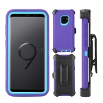 Samsung Galaxy S9 Heavy Duty Case With Clip Purple/Light Blue