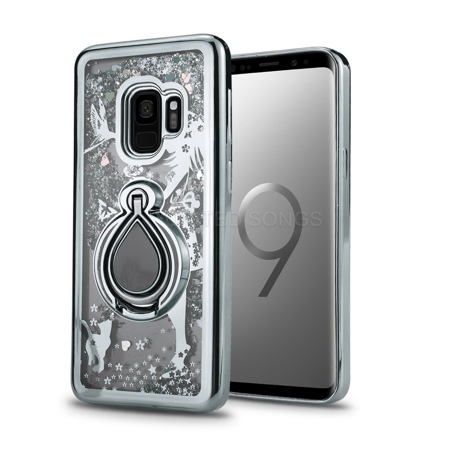 Samsung Galaxy S9 New Liquid Glitter Case With Ring Silver