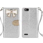 ZTE Tempo X N9137 Sparkle Wallet Case With Diamond Butterfly Design Silver