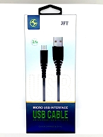 Micro V8/V9 Enhanced USB Cable White 3 Feet Black