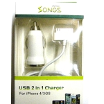 iPhone 4 4S 2 in 1 Car Charger White