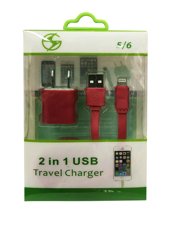 iPhone Lightning 2 in 1 Home Charger Red