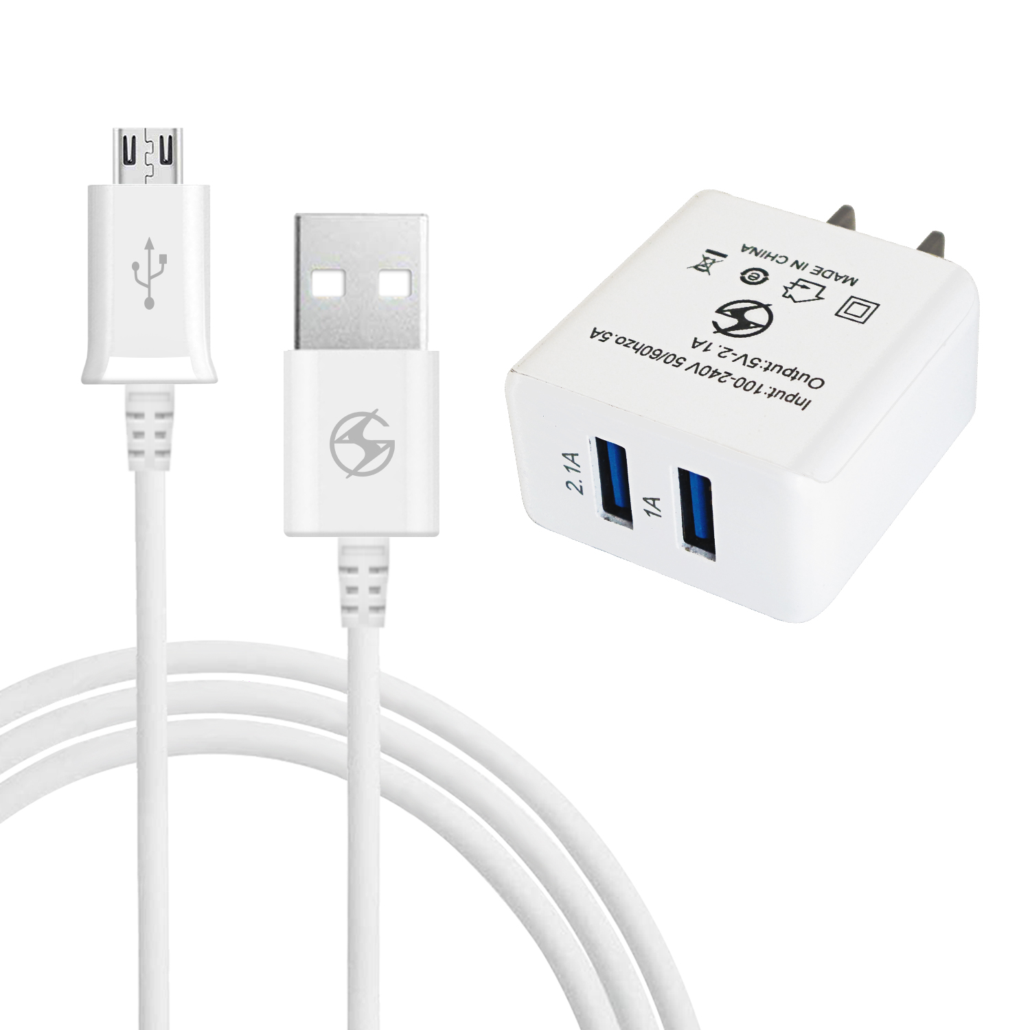 Micro V8 V9 Rapid 2 in 1 Dual USB Home/Travel Charger White