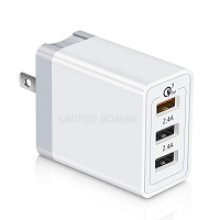 3 Port USB Wall/Travel/Home Charger White
